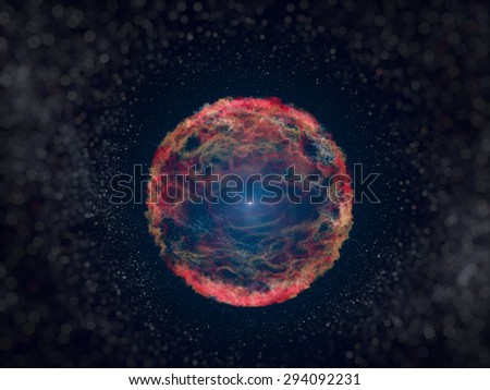 SN 1993J is a supernova observed in the galaxy M81. A supernova formed by the explosion of a giant star. Retouched image with small DOF. Elements of this image furnished by NASA. - stock photo