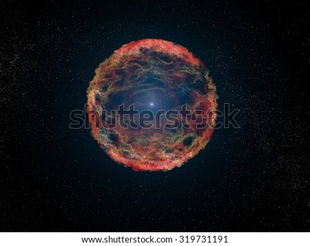 SN 1993J is a supernova observed in the galaxy M81. A supernova formed by the explosion of a giant star. Retouched image. Elements of this image furnished by NASA. - stock photo