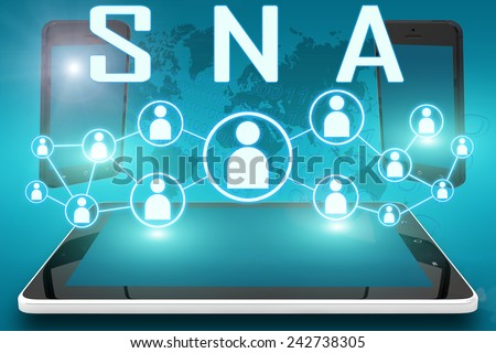 SNA - Systems Network Architecture - text illustration with social icons and tablet computer and mobile cellphones on cyan digital world map background - stock photo