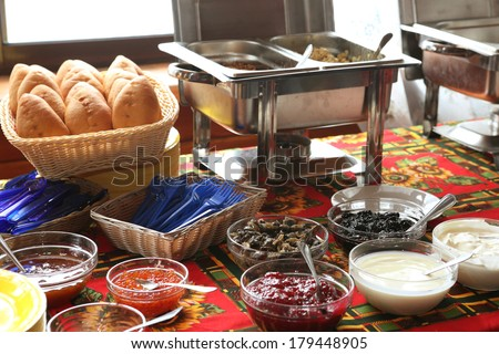 snack and appetizer on the party table - stock photo