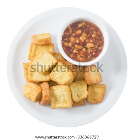Snack and Dessert, Chinese Deep Fried Tofu or Fried Bean Curd Served with Sweet and Sour Spicy Sauce Isolated on White Background.