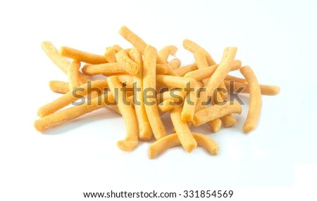 Snack and Dessert, Salted Crispy Breadsticks, Grissini or Dipping Sticks Isolated on A White Background.