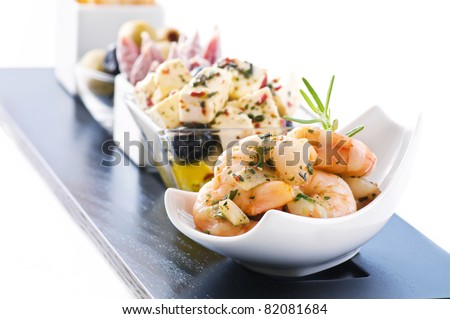 Snack bar with antipasto - stock photo