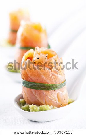 Snack bar with salmon rolls - stock photo