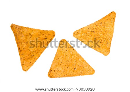 Snack Chips Macro Isolated on a White Background - stock photo