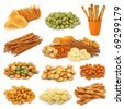Snack collection isolated on white background - stock photo