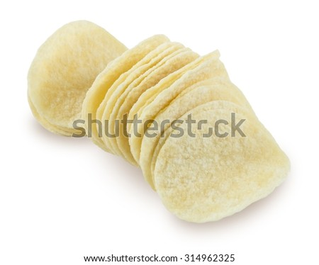 Snack Food, Delicious Potato Chips or Crisp Isolated on White Background. - stock photo