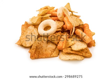 snack mix ona a white background - stock photo