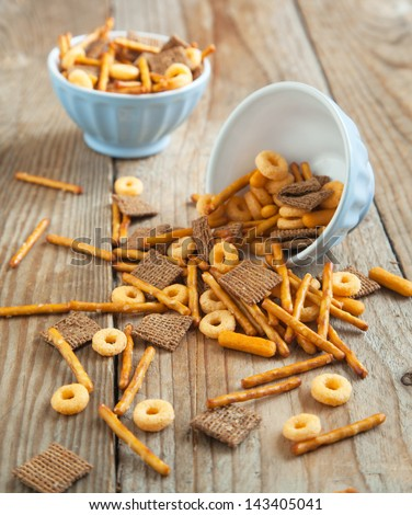 Snack mix. Salty treat for snacking. - stock photo