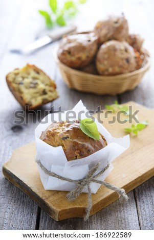 Snack muffin with mushrooms - stock photo