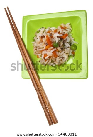 Snack of Chicken Fried Rice on a Green Plate with Chopsticks Isolated on White with a Clipping Path.