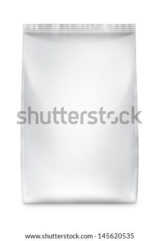 Snack package frontally. Packing for the isolation of the product on a white background with reflections and soldering white color  - stock photo