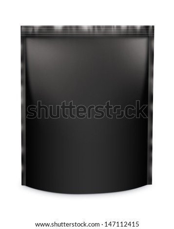 Snack package frontally. Packing isolation of the product Blank Foil Food Or Drink Bag Packaging on a white background with reflections and soldering black color  - stock photo