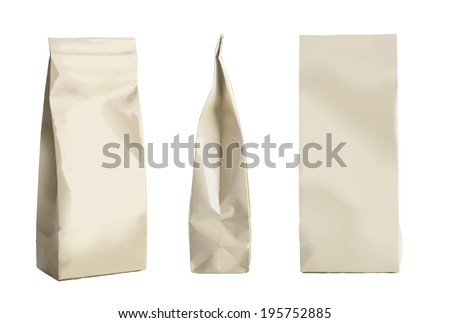 Snack package set. Packing for the isolation of the product on a white background  - stock photo