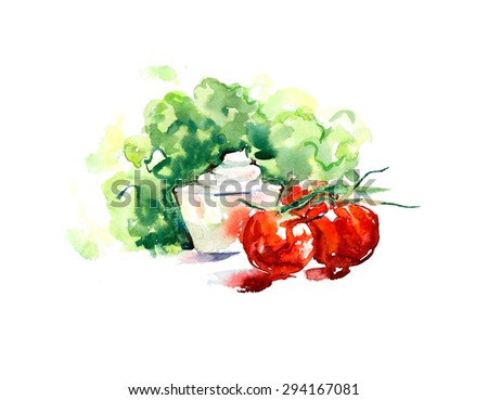 Snack. Salad, sauce, tomatoes. Watercolor hand drawn illustration