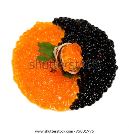 Snack with  Black sturgeon caviar isolated over white background - stock photo