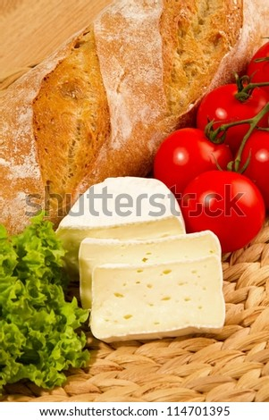 snack with cheese tomatoes and bred - stock photo