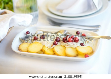Snack with potatoes on a white plate, banquet - stock photo