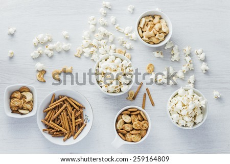 Snacks background - stock photo