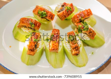 Snacks of vegetables on plate