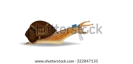 Snail mail concept. Snail with letter and postman bag - stock photo