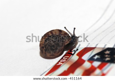 snail mail - near stamp - stock photo