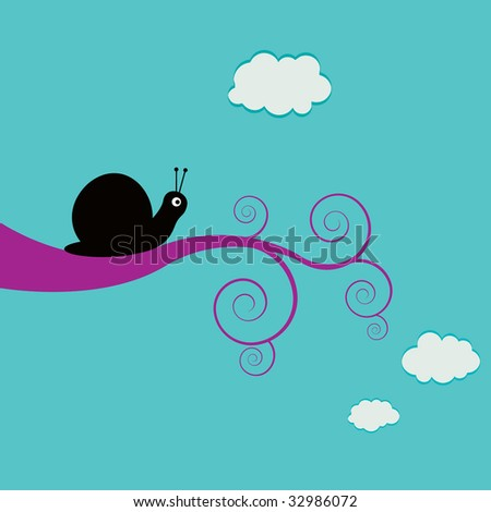 Snail on a swirly branch - stock photo