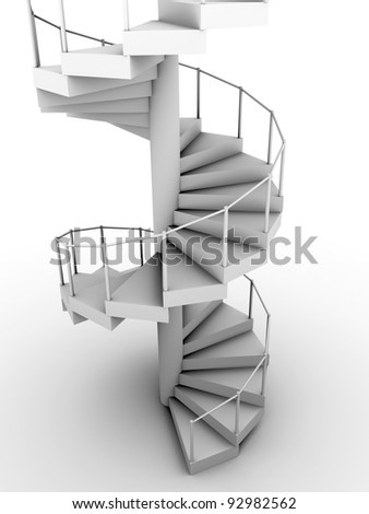 Snail staircase in white. Circular construction. 3d render - stock photo