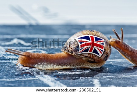 snail with the colors of England flag encouraged by another country, Brexit UK metaphor - stock photo