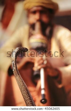 Snake charmer in Varanasi, India, 1999 - stock photo