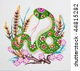 snake,Colored paper cutting. The Chinese Zodiac. - stock photo