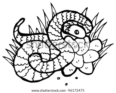 snake in nest of eggs illustration - stock photo