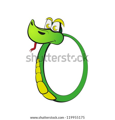 "Snake in the form of number zero. Part of ""2013"". Raster version of the loaded vector. - stock photo"