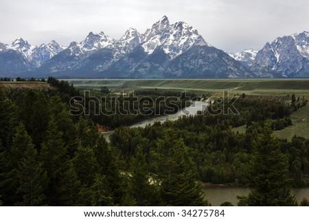 Snake River at Grand Teton - stock photo