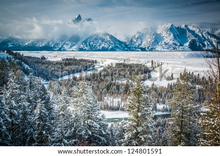 Snake River overlook, Grand Teton National Park, Wyoming - stock photo