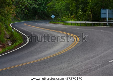 Snake road on the way to the top of Suthep mountain in northern of Thailand - stock photo