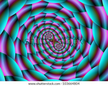 Snake Skin in Turquoise and Pink/Digital abstract image with a double spiral design in turquoise, pink and blue.
