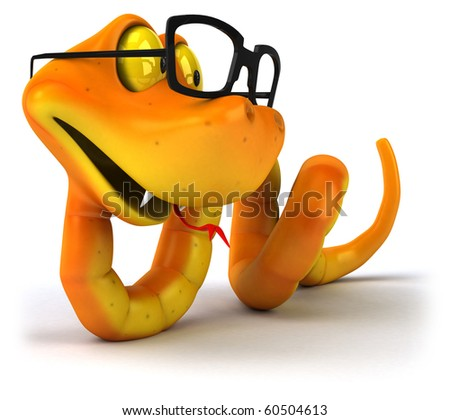 Snake with glasses - stock photo