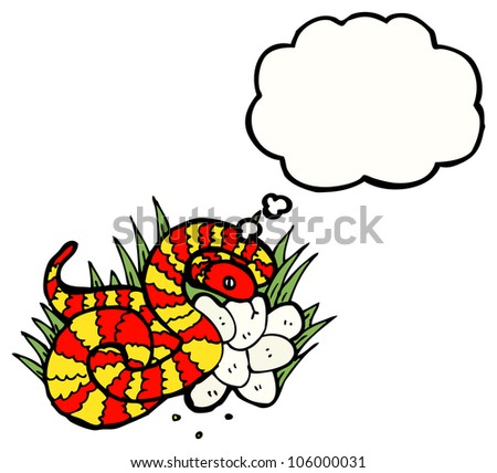 snake with nest of eggs - stock photo