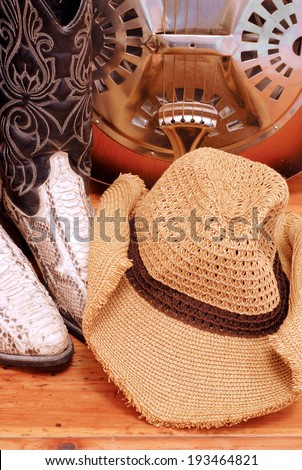 snakeskin cowboy boot with a cowboy hat and a dobro - stock photo