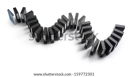 snaking line of black box files arranged to look like dominoes - stock photo