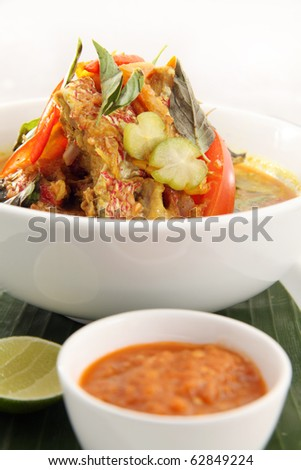 snapper fish soup with chili sauce