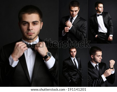 Snapshot of model. Handsome man on black background - stock photo