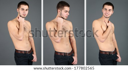 Snapshots of model. Handsome man on grey background - stock photo