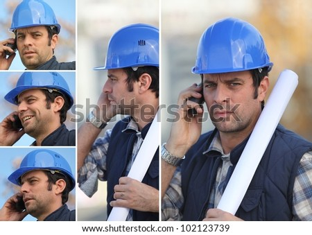 snapshots of young man with blue safety helmet on the phone - stock photo