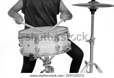 Snare Drum Isolate with White Background - Black and White Color - stock photo