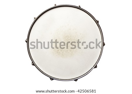 Snare drum top view isolated on white - stock photo
