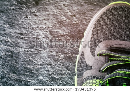 Sneaker closeup. Sport concept with copyspace - stock photo