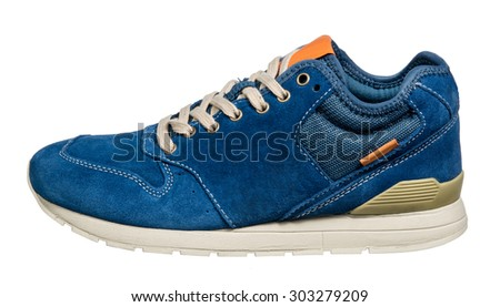 Sneaker or trainer isolated on white - stock photo
