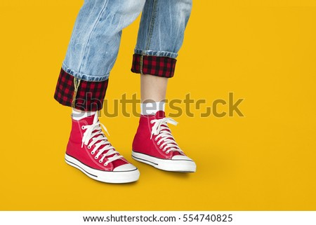 Sneakers Canvas Shoes Human Feet Legs Standing Concept